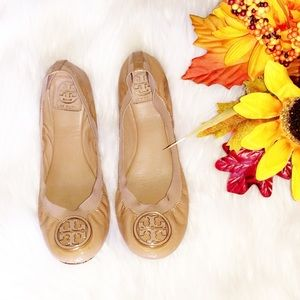 TORY BURCH Nude Patent Leather Nude Flats